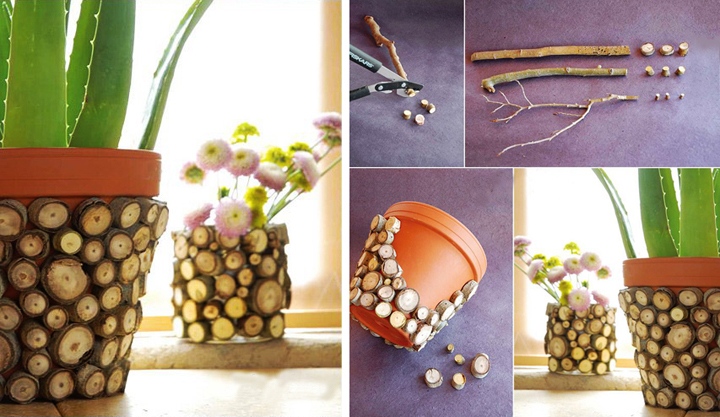 twig pot decoration