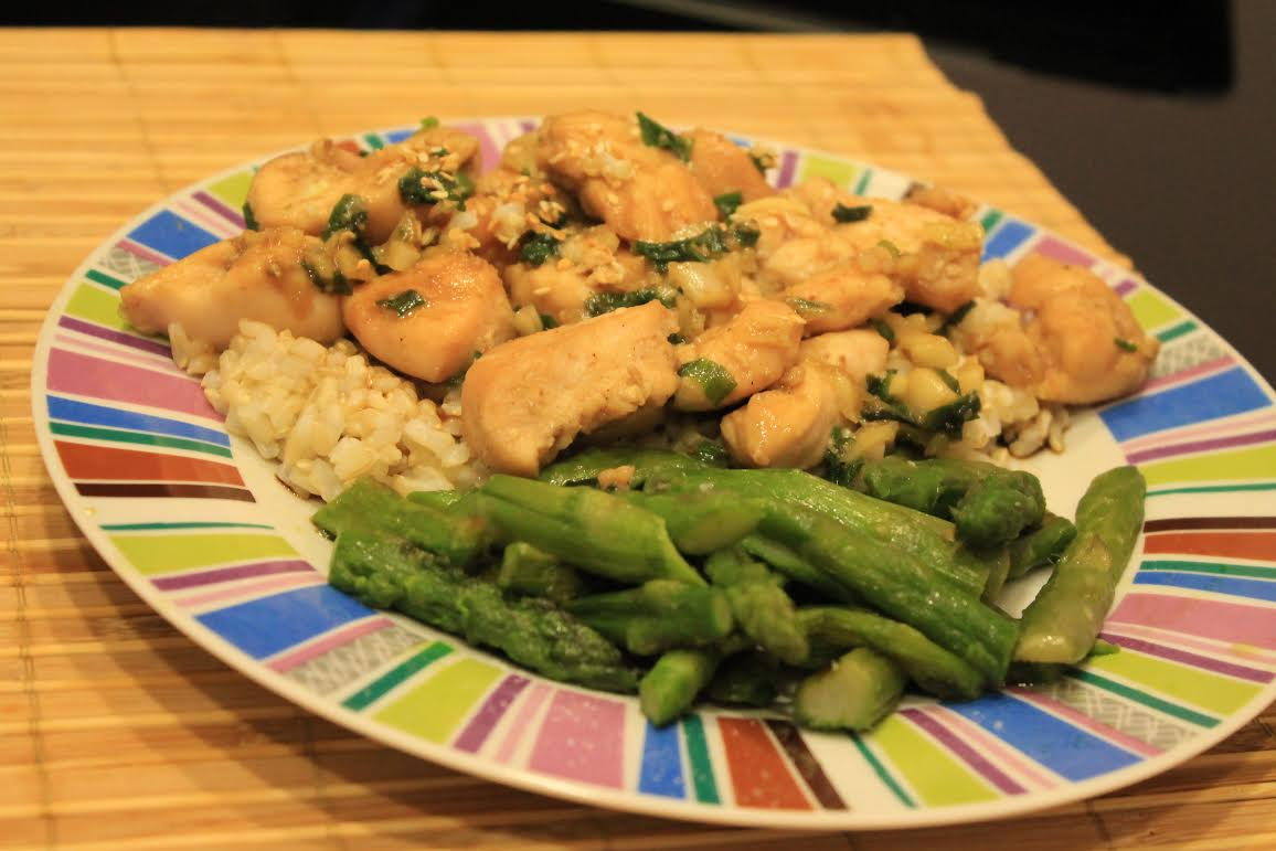 Sesame Chicken With Honey and Asparagus