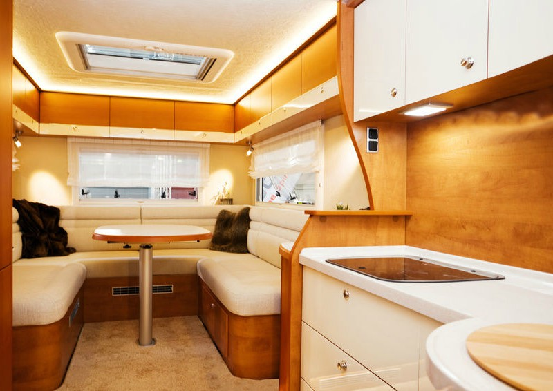 An interior of a campervan