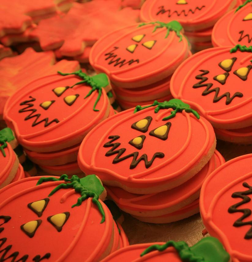 Halloween pumpkin-shaped cookies